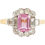 Pink Sapphire - Diamond Halo - 18ct Yellow Gold Solitaire Ring