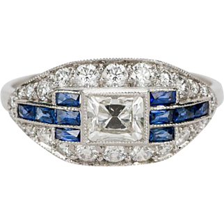 Art Deco Oval Cluster ring with Asher Diamond, Sapphires & Platinum Ring. Circa 1920/30's