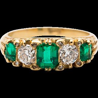 5 Stone Ring -0.92ct Emerald, 0.75ct Diamond. Circa 1940's or older
