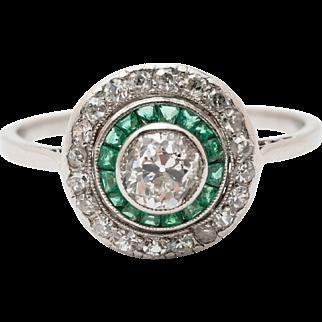 Art Deco Emerald & Diamond Target Ring. Circa 1920/30's
