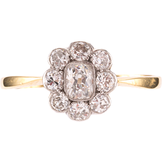Cushion shaped Old European diamond cluster ring in Flower Setting. 18ct Yellow Gold. Circa 1940's