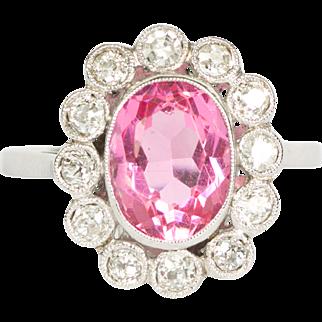 French Oval Pink Tourmaline - Diamond Halo - 18ct White Gold Ring