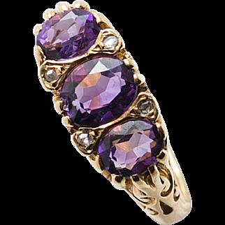 Amethyst 3 Stone ring with Diamonds. Circa 1970's