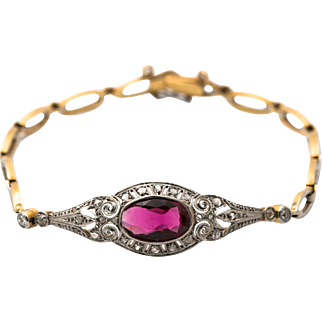 Victorian - 1.06ct Tourmaline - Diamond - 18ct Yellow Gold - Platinum Bracelet