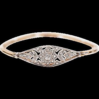 Edwardian - Diamond - Platinum Top - Yellow Gold - Bracelet