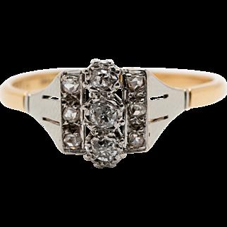Art Deco 18ct Yellow Gold Platinum topped ring with geometric Diamond design Circa 1930's-40's