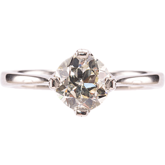 1.55ct Early Modern Brilliant cut Diamond Solitaire and Platinum Ring. Circa 1972