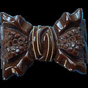 Vintage Deep Carved Chunky Bakelite Bow Brooch