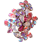 Pretty in Pinks Vintage Opal Pink Art Glass Rhinestone Brooch Aurora Borealis