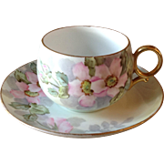 Lovely Antique French Limoges B&Co Hand Painted Signed Pink Floral Tea Cup & Saucer - Red Tag Sale Item