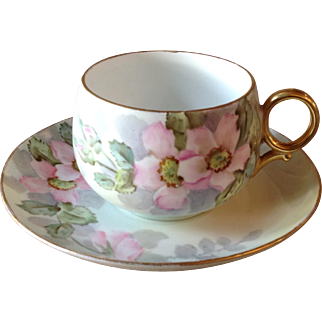 Lovely Antique French Limoges B&Co Hand Painted Signed Pink Floral Tea Cup & Saucer