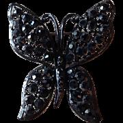 Vintage Lisner Black Crystal Rhinestone Butterfly Brooch