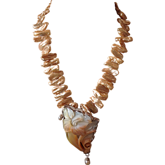 Artisan Sterling Carved Shell and Champagne Freshwater Biwa Stick Pearls Necklace signed