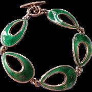 Vintage Jemax Denmark Sterling Green Guilloche Enamel Modernist Bracelet