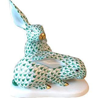 Vintage Herend Hungary Green Fishnet Bunny Rabbits Easter Mint