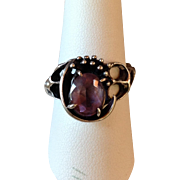 Sterling Silver Amethyst Ring Hand Made Artisan Lost Wax Modernist