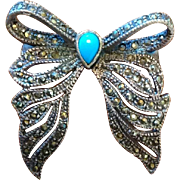 Vintage Sterling Silver Marcasite Bow Brooch Faux Persian Turquoise