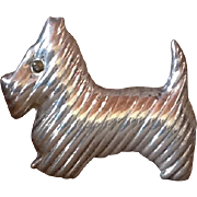 Vintage Mexican Sterling Silver Scottie Dog Pendant Brooch Taxco