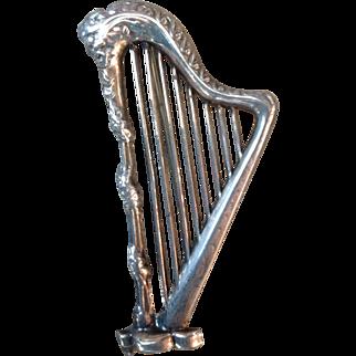 Vintage Sterling Silver Lang Musical Harp Pin Brooch