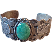 Old Pawn Navajo Stamped Sterling Turquoise Cuff Bracelet Fred Harvey Era