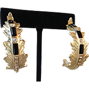 Vintage Whiting and Davis Large Ornate Hoop Earrings with Black and Crystal Rhinestones Gold-tone Metal