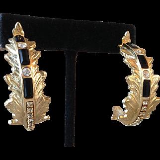 Vintage Whiting and Davis Large Ornate Hoop Earrings with Black and Crystal Rhinestones Gold-tone Metal