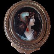 19c French Limoges Hand Painted Enamel Miniature Portrait Bronze Jewel Box