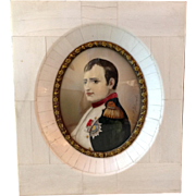 Antique French 1800's Hand Painted Portrait Miniature Napoleon Bonaparte signed DeLaroche