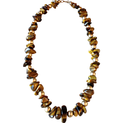 Vintage Hobe Genuine Tiger's Eye Chunky Nugget Necklace