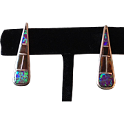 Vintage Zuni Sterling Silver Opal and Shell Inlay Earrings signed