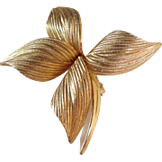 1964 Christian Dior for Grosse Germany Gold Plated Flower Brooch