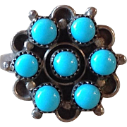 Old Navajo Sleeping Beauty Turquoise Sterling Cluster Snake Eye Ring