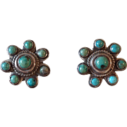 Vintage Navajo Sterling Silver Turquoise Cluster Earrings Old Pawn Clip back - Red Tag Sale Item