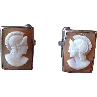 Vintage Sterling Silver & Carved Cameo Roman Soldier Cufflinks