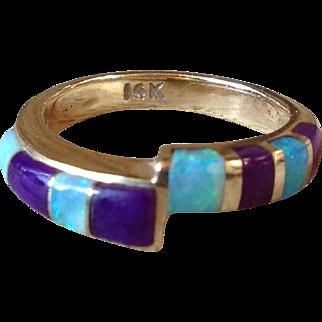 Vintage 14k Yellow Gold Opal & Sugilite Ring