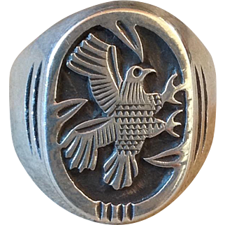 Vintage Hopi Native American Sterling Silver Carved Eagle Peyote Bird Ring Sz 9.75
