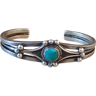 Vintage Navajo Old Pawn Turquoise Sterling Silver Cuff Bracelet 1940's Fred Harvey Era