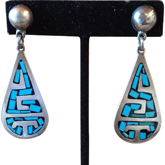 Vintage Taxco Mexican Sterling Silver Turquoise Onyx Inlay Earrings