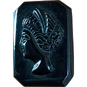 Vintage Large Black Bakelite Carved Cameo Brooch Pin