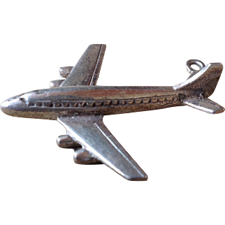 Heavy Vintage Sterling Silver Airplane Pendant Charm 3-D Large