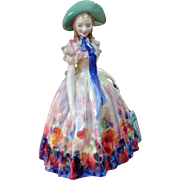 """Gorgeous Royal Doulton """"Easter Day"""" Figurine Hand Painted Blues and Roses - Red Tag Sale Item"""