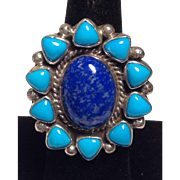 Vintage Navajo Turquoise Lapis Sterling Silver Cluster Ring Running Bear