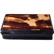 Antique 19c Snuff Box Carved Horn Faux Tortoiseshell Hinged Box