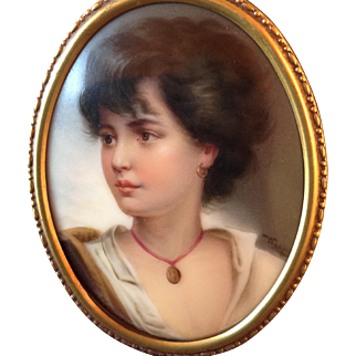 Antique Hand Painted Miniature Beautiful Woman Portrait on Porcelain by Wagner in Brass and Velvet Frame