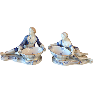 Pair Vintage Blue Onion Porcelain Figural Salt Cellars HandPainted Gilt