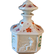 Antique French Paris Porcelain Hand Painted Scent Perfume Bottle w/ Napoleon Relief Cartouche