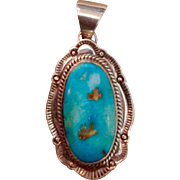 Vintage Navajo Sterling Silver Kingman Turquoise Pendant Joe Piaso Jr.