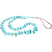 Vintage Native American Santo Domingo Turquoise Nuggets & Heishi Bead Necklace