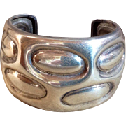 Vintage Sterling Silver Large Modernist Mexican Cuff Bracelet