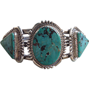 Vintage Navajo Sterling Silver Turquoise Bracelet by Begay